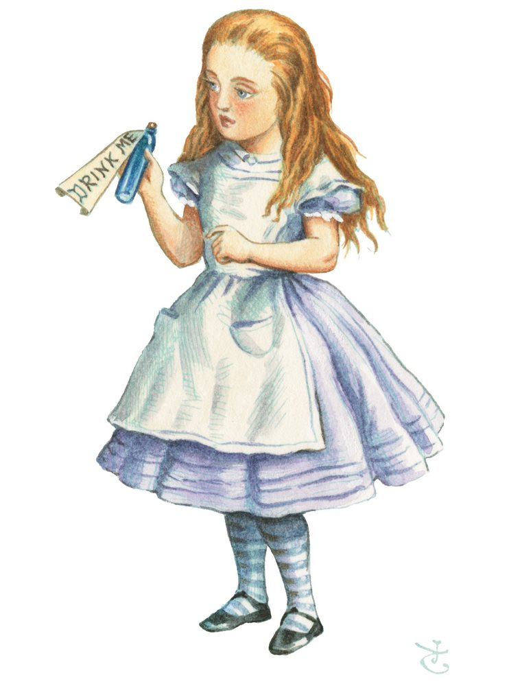 Alice-in-blue-dress-by-john-tenniel-coloured-by-diz-wallis