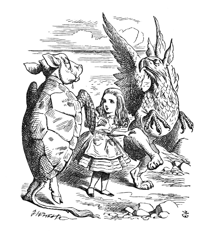 alice-meets-mock-turtle-and-gryphon
