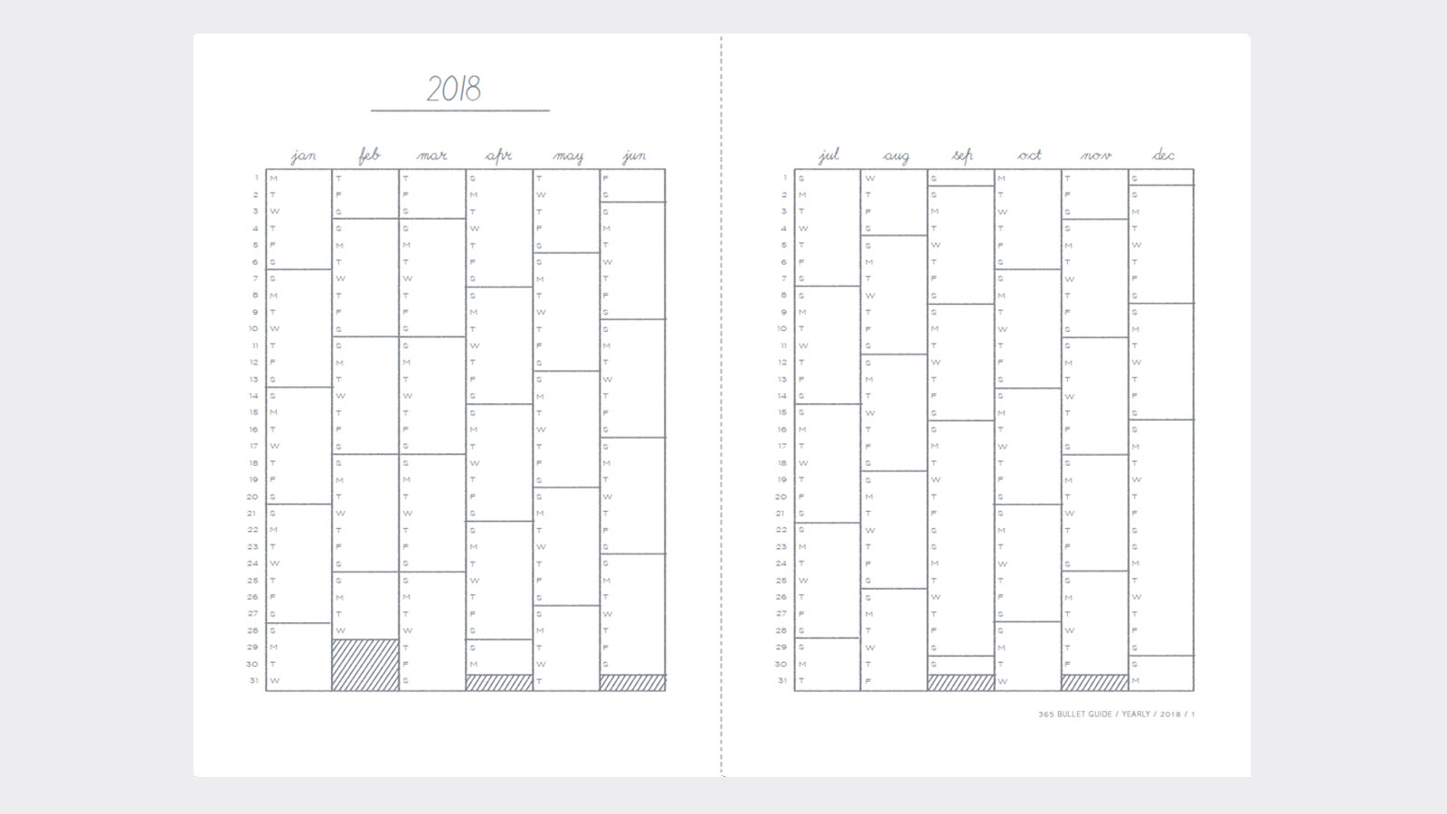 Print these bullet journal diary templates from The 365 – Free Journal Templates