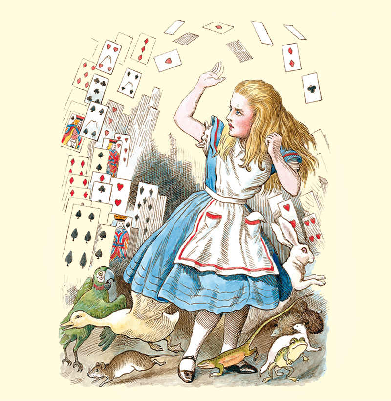 Alice in a blue dress from Macfarlane colouring