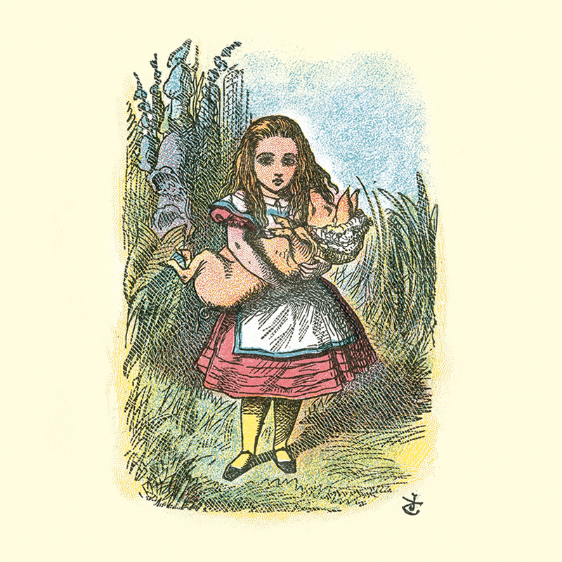 Alice in a red dress in the 1907 Little Folks edition