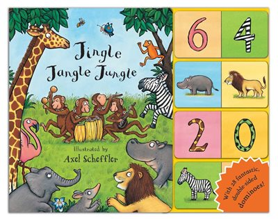 Book cover for Jingle Jangle Jungle Dominoes!