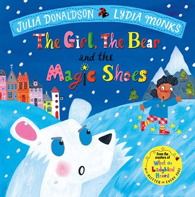 Book cover for The Girl, the Bear and the Magic Shoes