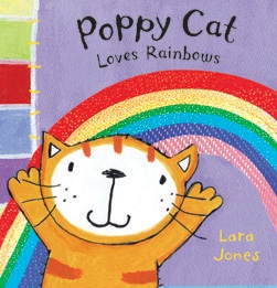 Book cover for Poppy Cat Loves Rainbows